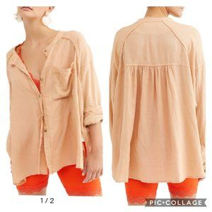 We The Free Keep It Simple Button Blush Frayed Top